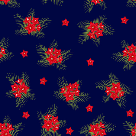 Cypress vine Flower on Christmas Blue Background. Vector Illustration. Иллюстрация