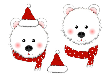 White Bear Santa Claus with Red Scarf Polka Dot. Vector Illustration.