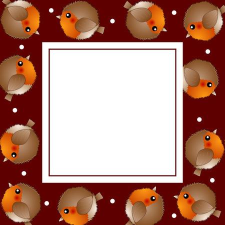 Red Robin Bird on Red Christmas Banner Card. Vector Illustration.