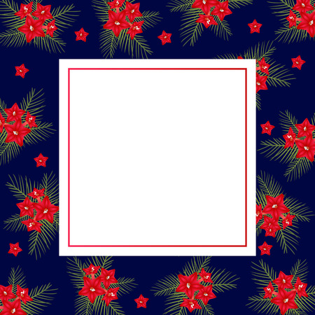 Cypress vine Flower on Christmas Blue Banner Card. Vector Illustration. Иллюстрация