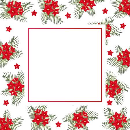 Cypress vine Flower on Christmas White Banner Card. Vector Illustration.