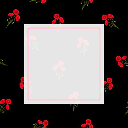 Red Corn Poppy Banner on Black Background. Vector Illustration. Ilustrace