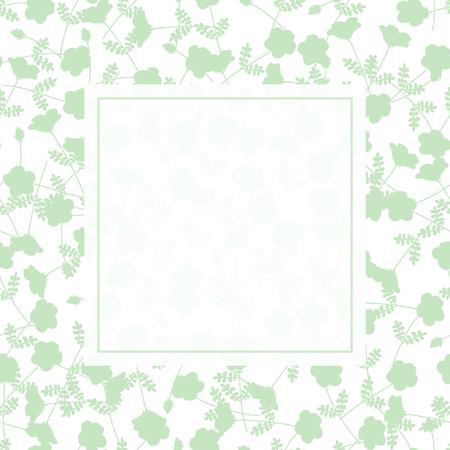 Green Flower Banner on White Background. Vector Illustration.