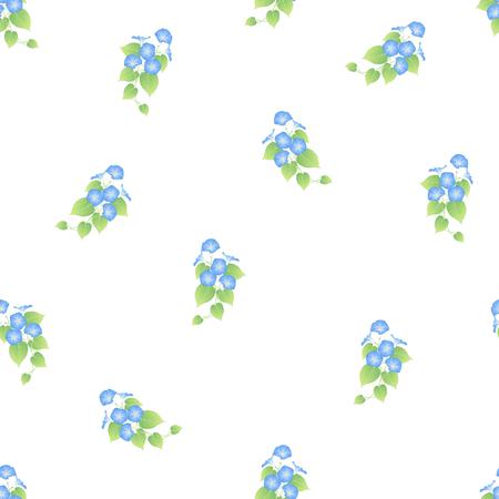 Blue Morning Glory Seamless on White Background. Vector Illustration. Ilustrace