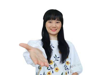 Cute Asian Girl Offering Hand Shake at Camera. isolated on White Background.