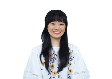 Cute Asian Girl Smiling at Camera. isolated on White Background.