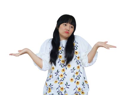 Cute Asian Girl Acting Like I Dont Care. isolated on White Background.