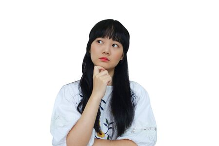 Cute Asian Girl Thinking. isolated on White Background.