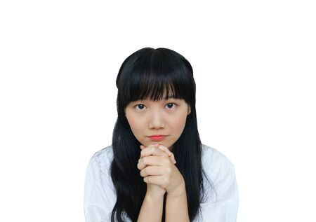 Cute Asian Girl Looking at Camera and Begging. isolated on White Background.