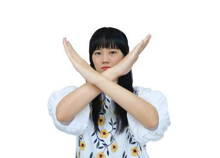 Cute Asian Girl Crossing Hand to Reject. isolated on White Background. Stock fotó