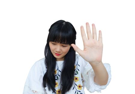 Cute Asian Girl Showing Hand to Stop or Refuse. isolated on White Background.