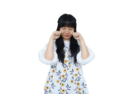 Cute Asian Girl Crying. isolated on White Background. Reklamní fotografie