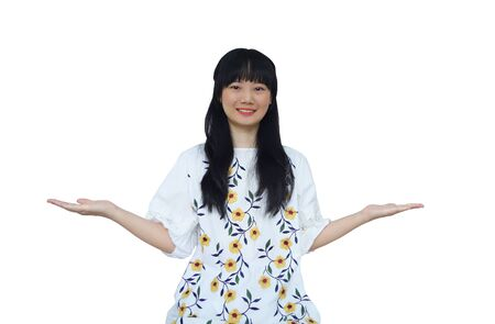 Cute Asian Girl Presenting Hand at Both Sides. isolated on White Background.
