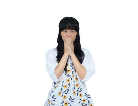 Cute Asian Girl Covering her Mouth.Looking Shock.  isolated on White Background.