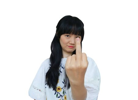 Cute Asian Girl Showing Middle Finger at Camera. isolated on White Background.