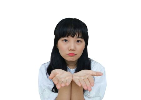 Cute Asian Girl Giving Bare Hands at Camera. isolated on White Background. Reklamní fotografie