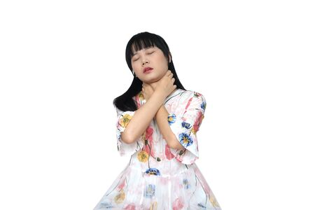 Cute Asian Girl Strangle with her Hands. isolated on White Background.