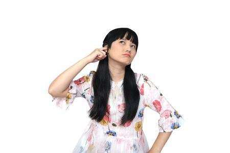 Cute Asian Girl Covering her Ears. Dont Want to hear. isolated on White Background. Reklamní fotografie