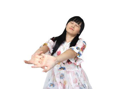 Cute Asian Girl Stretch Lazily. isolated on White Background. Reklamní fotografie