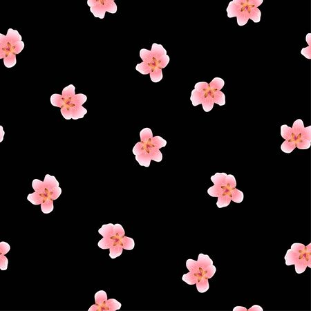 Peach Blossom Seamless on Black Background Vector Illustration