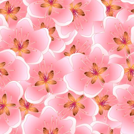 Peach Blossom Seamless Texture Background Vector Illustration