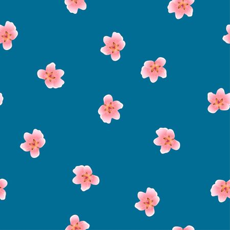 Peach Blossom Seamless on Indigo Blue Background Vector Illustration Illusztráció
