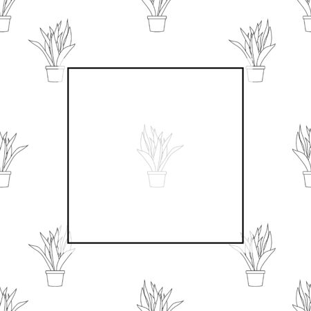 Snake Plant Outline Banner on White Background. Vector Illustration Illusztráció
