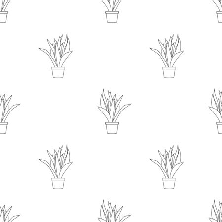 Snake Plant Outline Seamless on White Background. Vector Illustration Illusztráció