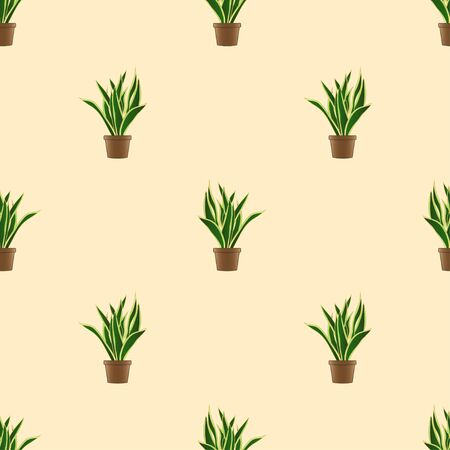 Snake Plant Seamless on Ivory Background. Vector Illustration Illusztráció