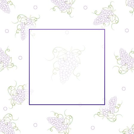 Colorful Line Grape Banner on White Background. Vector Illustration. Illusztráció