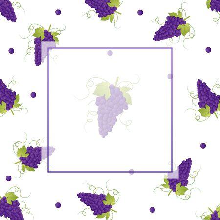 Bannière de raisin Pueple sur fond blanc. Illustration vectorielle.