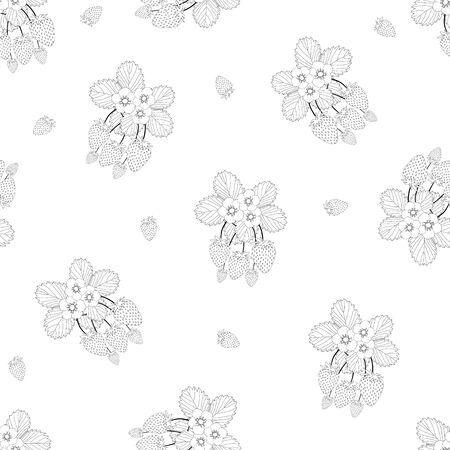 Strawberry and Flower Outline Seamless on White Background. Vector Illustration.