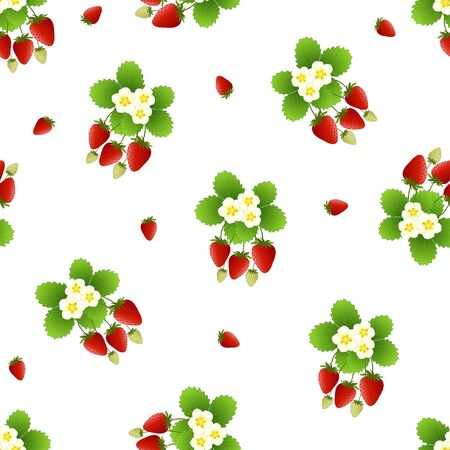 Red Strawberry and Flower Seamless on White Background. Vector Illustration.