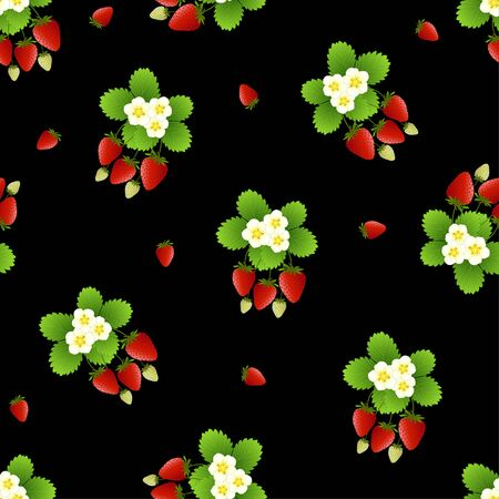 Red Strawberry and Flower Seamless on Black Background. Vector Illustration.