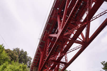 I see from below the red iron bridge