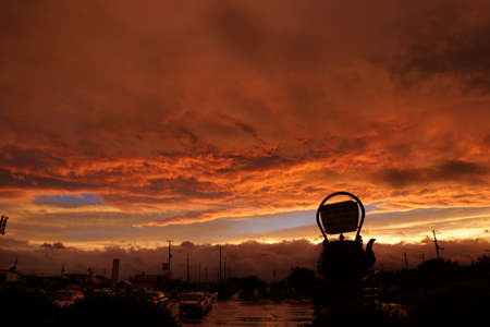 Red sky sunset, Iwate of Japan,2 photo