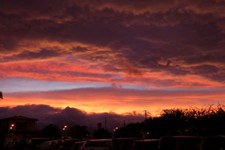 Red sky sunset, Iwate of Japan,1 photo