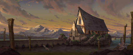 A digital illustration of the big medieval fantasy chapel with an old stone bridge on tranquil lake under a beautiful sunrise sky scenery. Standard-Bild