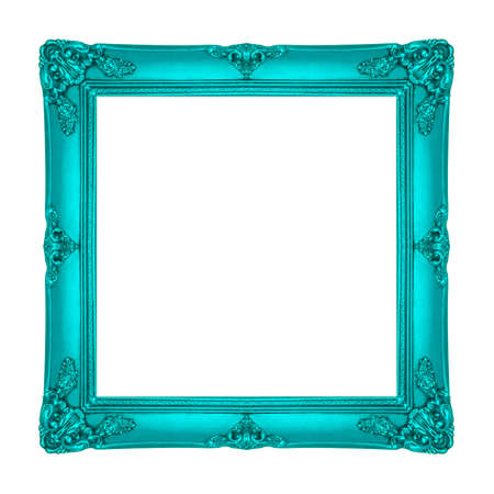 Frame wooden Carved pattern isolated on a white background.