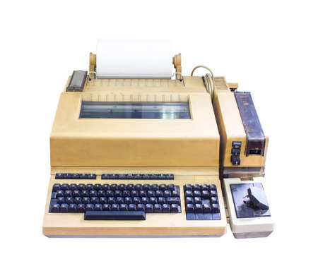 bureaucrat: typewriter old isolated on white background.