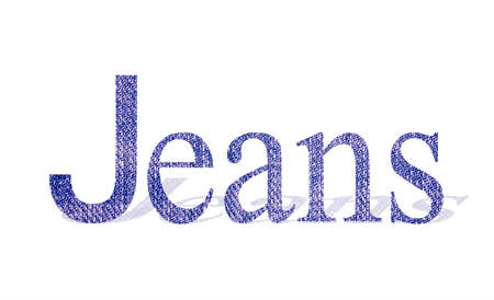jeans word with denim texture, isolated on white background.