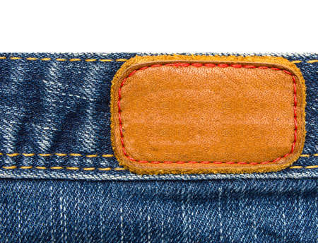 Leather label. jeans isolated white background