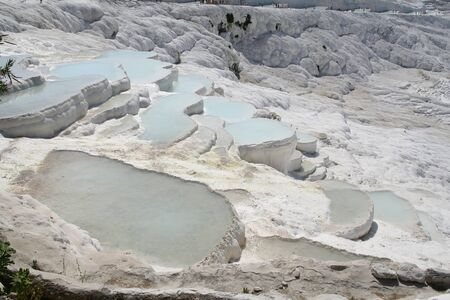 calcareous: Panoramic popular Pammukkale calcareous pools in Turkey