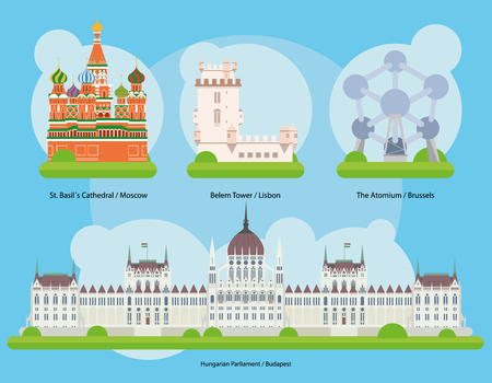 Vector illustration of Monuments and landmarks in Europe Vol. 2: St Basils Cathedral Moscow, Lisbon Belem Tower, The Atomium Brussels and Budapest Hungarian Parliament. Иллюстрация