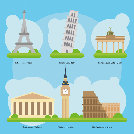 leaning tower: Vector illustration of Monuments and landmarks in Europe Vol. 1: Eiffel Tower Paris, Pisa Leaning Tower, Brandenburg Gate Berlin, Greece Parthenon, Big Ben and The London Coliseum Rome.