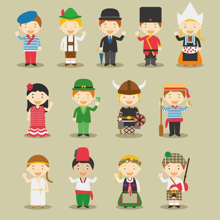 Kinder und Vektor Nationalitäten der Welt: Europa 1. September Set von 13 verschiedenen Charakteren in Trachten gekleidet Frankreich, Deutschland, Großbritannien, Russland, Polland, Spanien, Irland, Schweden, Italien, Griechenland, der Türkei, den Niederlanden und Schottland.