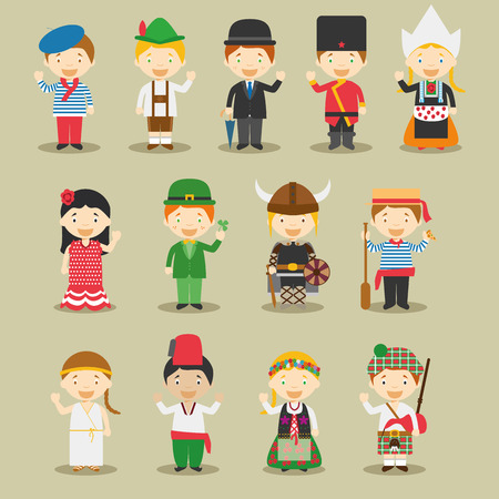 Kids and vector nationalities of the world: Europe September 1. Set of 13 different characters dressed in national costumes France, Germany, UK, Russia, Polland, Spain, Ireland, Sweden, Italy, Greece, Turkey, Netherlands and Scotland.