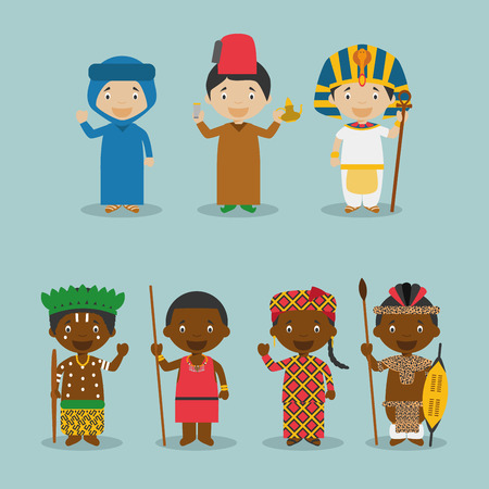 Kids and vector nationalities of the world: Africa September 2. Set of 7 characters dressed in different national costumes Morocco, Algeria, Egypt, Congo, KenyaMasai, Mali and South AfricaZulu. Illustration