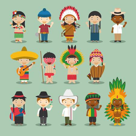Crianças e nacionalidades vetor do mundo: América 4 de setembro Conjunto de 14 diferentes personagens vestidas com trajes nacionais Havaí, Canadá, EUA, México, Guatemala, Cuba, Jamaica, VenezuelaYanomami, Amazônia, Brasil, Peru, Equador e Argentina.