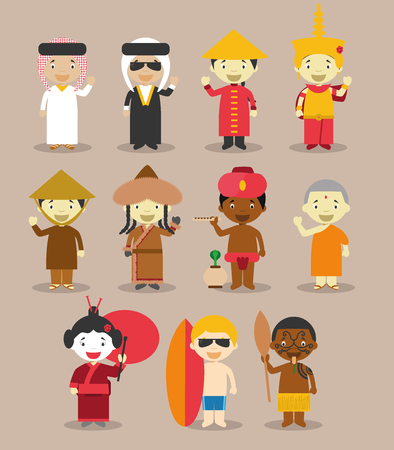 Kids and vector nationalities of the world: Asia and OceaniaAustralia September 3. Set of 11 different characters dressed in national costumes 9 from Asia Saudi Arabia, Iraq, China, Cambodia, Vietnam, Mongolia, India, Nepal and Japan and 2 from Australia